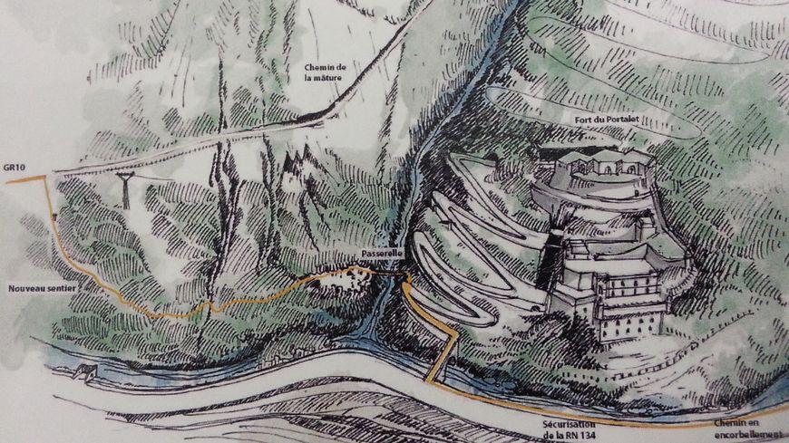 Le cheminement piéton entre le parking et le Fort du Portalet sera fixé sous la nationale 134