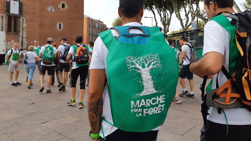 Une quarantaine de personnes, des agents de l'ONF en majorité plus quelques citoyens, ont pris le départ de la marche depuis le Castillet.