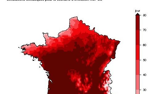 Nombre de jour de canicule en France  france à l'horizon 2100
