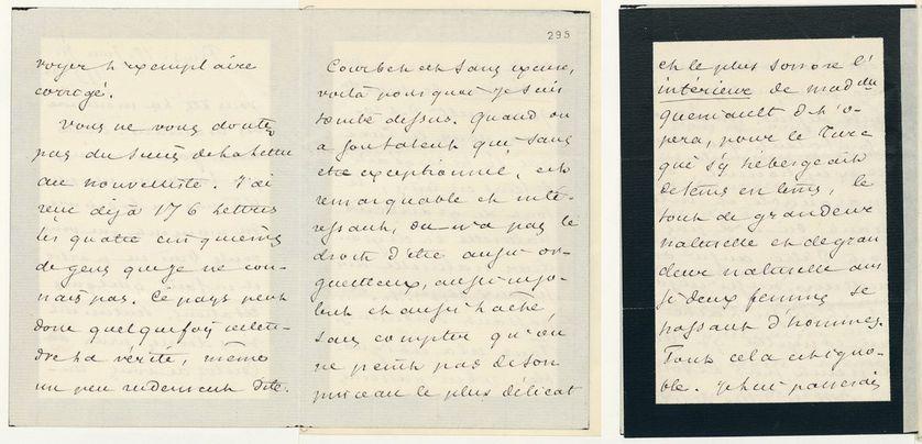 """Extrait de la lettre de Dumas fils à George Sand, ayant permis de remonter la piste jusqu'au modèle de """"L'Origine du monde"""". On y lit clairement """"l'intérieur de mademoiselle Queniault"""""""