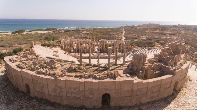 Vue aérienne du Théâtre de Leptis Magna Libye