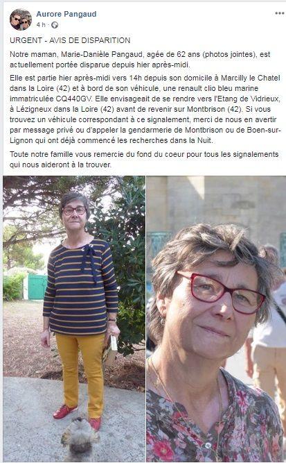 La famille de la femme disparue a également partagé sa photo sur les réseaux sociaux.