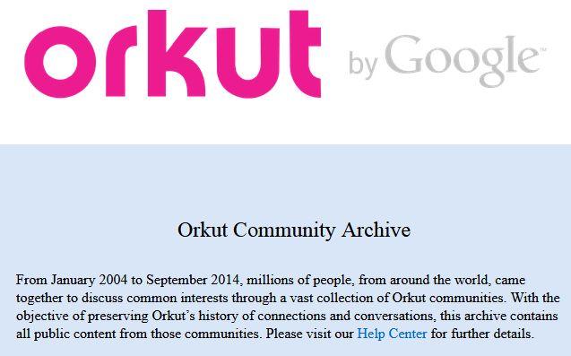 Archive de la page d'accueil d'Orkut après sa fermeture