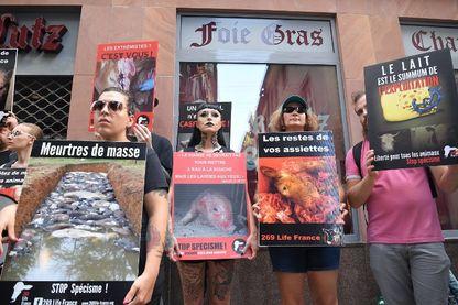 Une manifestation contre les violences animales devant une boucherie