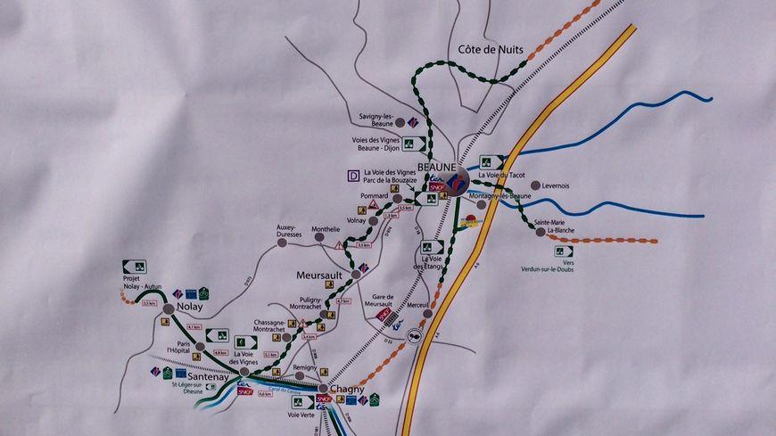 La carte de la Véloroute de Côte-d'Or, avec la nouvelle tranche de Beaune vers Verdun-sur-le-Doubs