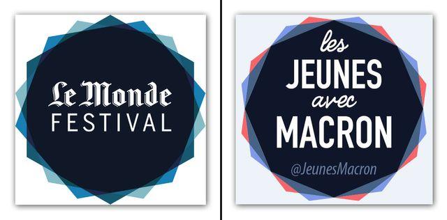 A gauche, le logo du Festival du journal Le Monde. A droite, le logo des Jeunes avec Macron.