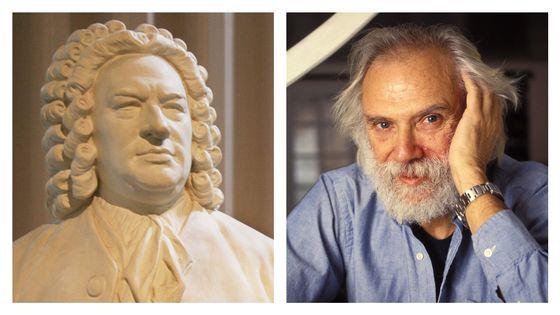 Statue de Bach et Georges Moustaki