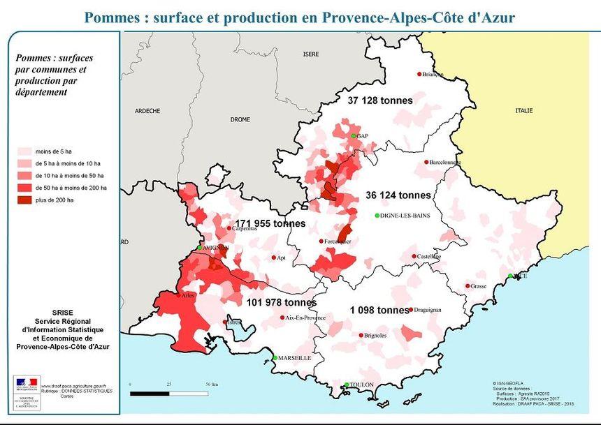 La production se concentre plutôt le long du Rhône et dans le secteur de Cavaillon