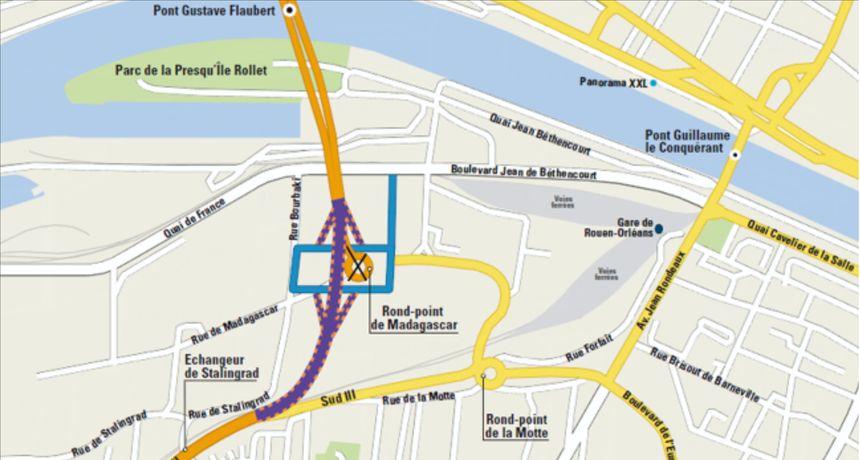 Plan du futur accès au pont Flaubert de Rouen depuis la rocade Sud III