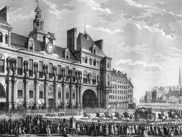 Le roi Louis XVI arrivant à l'Hôtel de Ville de Paris, le 17 juillet 1789.