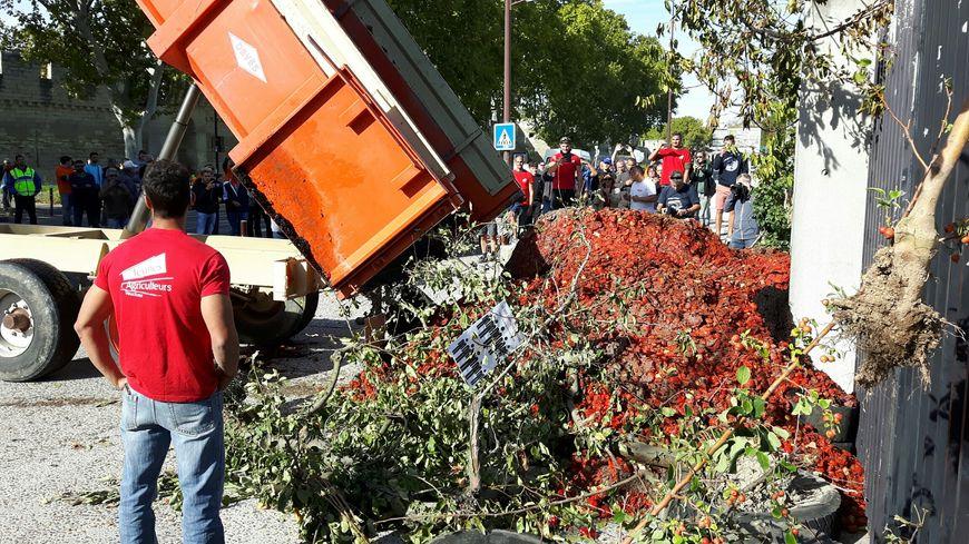 Coup de sang des agriculteurs provençaux devant la Préfecture à Avignon