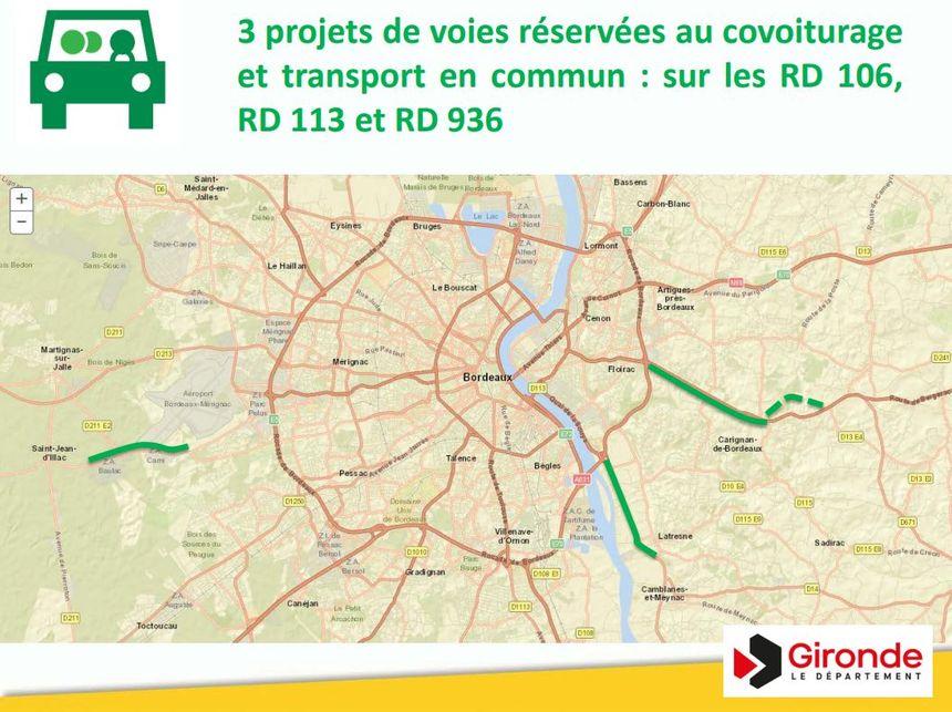 Gironde : le département va expérimenter les voies réservées au covoiturage, les voies concernées