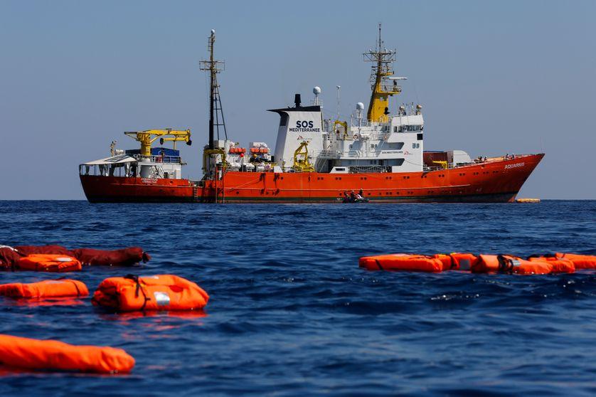 L'Aquarius le 23 juin dernier, en mission entre l'île italienne de Lampedusa et la Tunisie