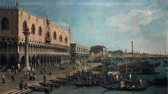 Giovanni Antonio Canal, dit CANALETTO : Vue du Palazzo Ducale vers la Riva degli Schiavoni