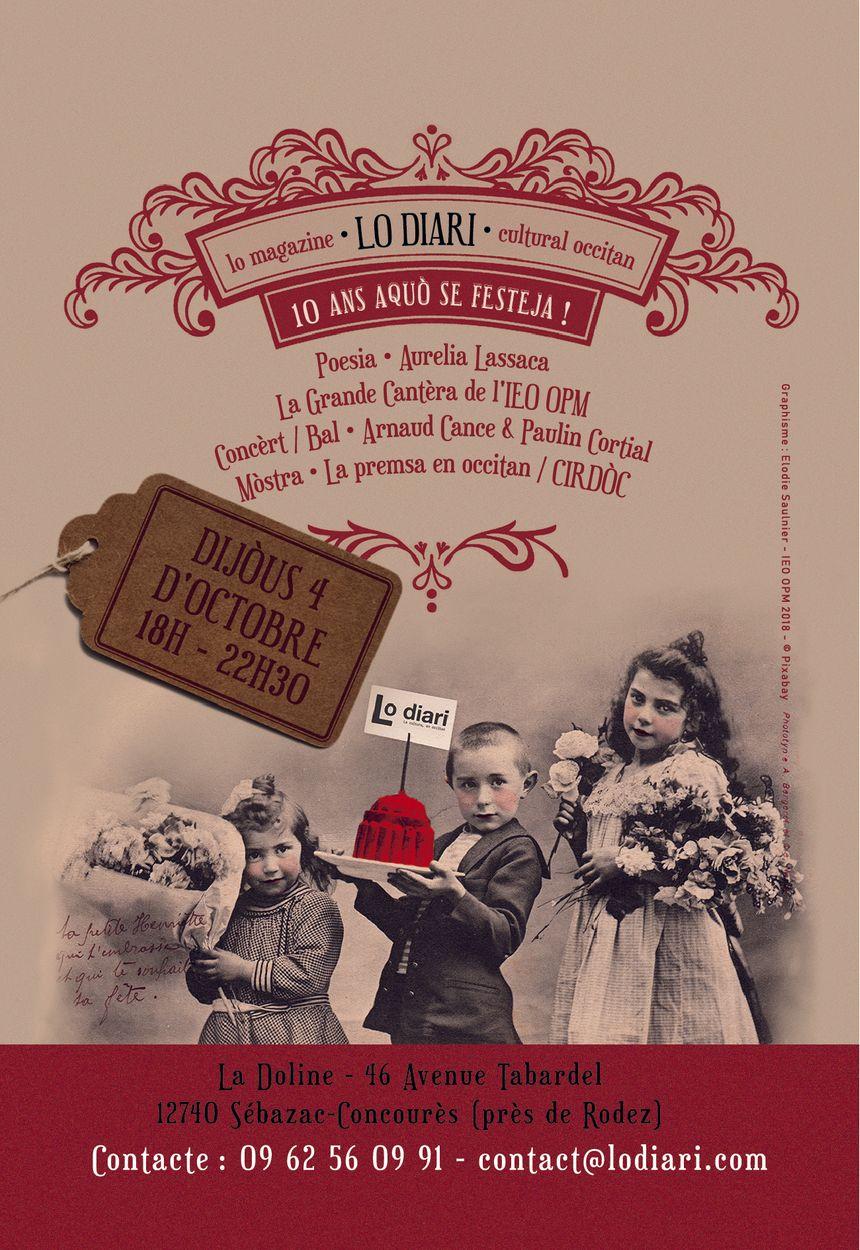 Affiche des 10 ans du Diari pour l'événement du jeudi 4 octobre à Sébazac-Concourès (12)