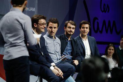 De gauche à droite, Sacha Houlié, Jean Gaborit, Florian Humez et Pierre Person, le 17 mars 2018, lors de la convention des Jeunes avec Macron.