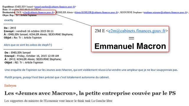 Dans cet échange de mails, 2M E n'est autre qu'Emmanuel Macron.