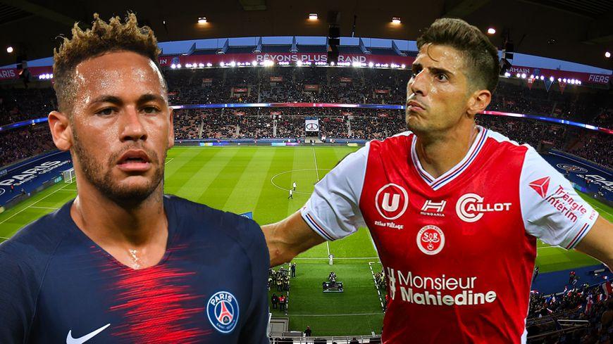 Le Brésilien du PSG, Neymar (à gauche), reçoit au Parc des Princes l'Argentin du Stade de Reims, Pablo Chavarria (à droite).