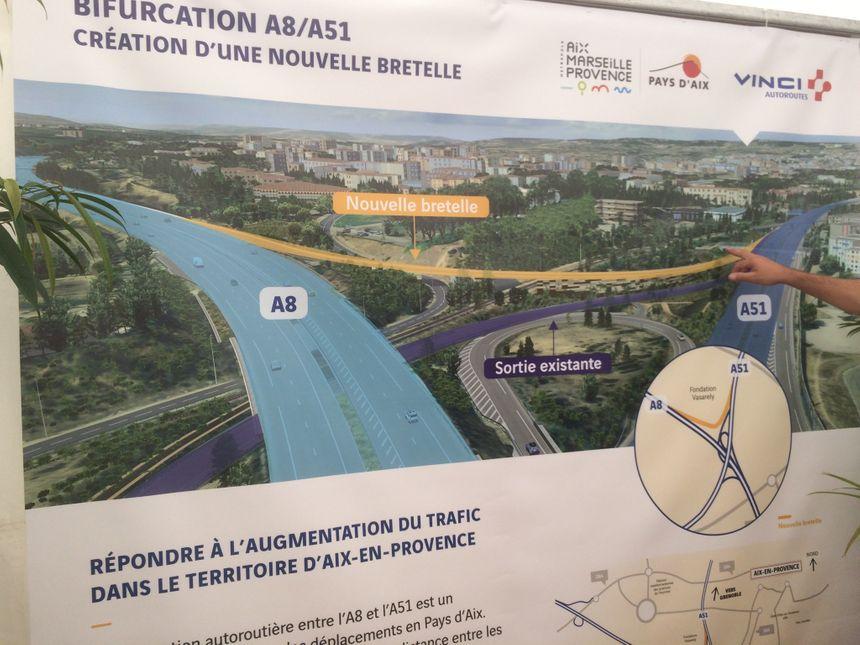 Les automobilistes pourront venir du Nord de l'A51 et rejoindre l'A8 direction Lyon avec la nouvelle bretelle