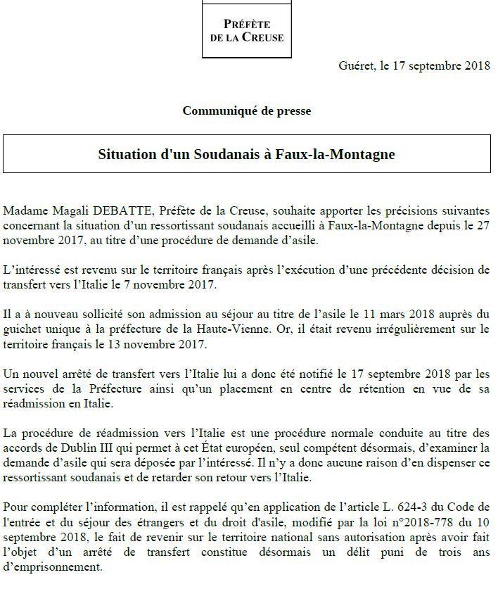 Communiqué de la préfecture de la Creuse ce lundi soir