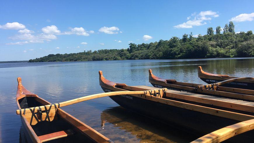 All Water propose toutes sortes d'activités sur le lac de Mimizan, paddle, course d'orientation et pirogue hawaïenne.