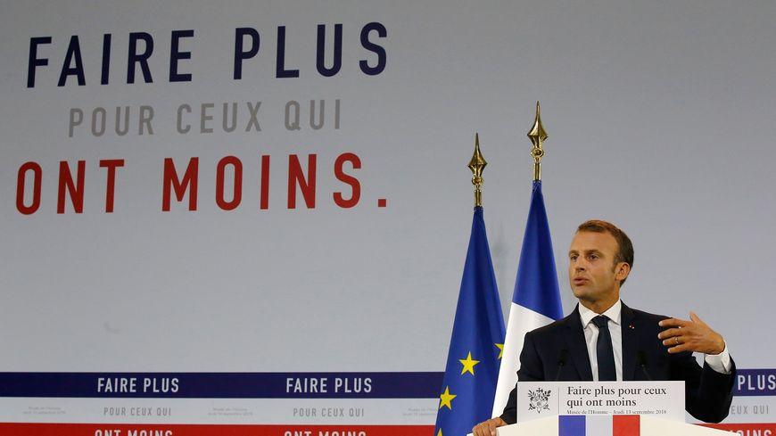 Emmanuel Macron lors de la présentation de son plan de lutte contre la pauvreté, le 13 septembre 2018.