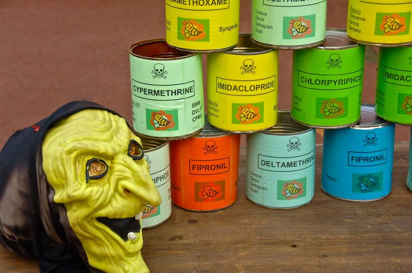 À Villeneuve d'Ascq, action contre les pesticides et les OGM.