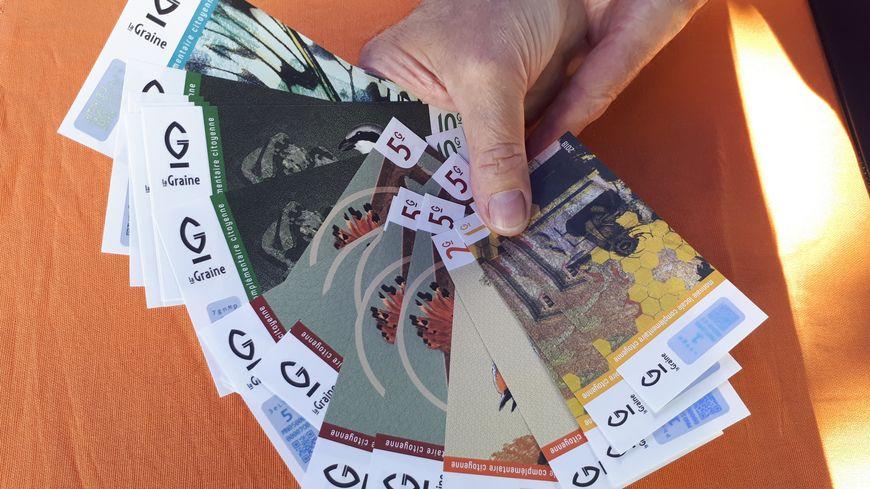 Les 5 billets ( de 1 à 20 Graines) en circulation