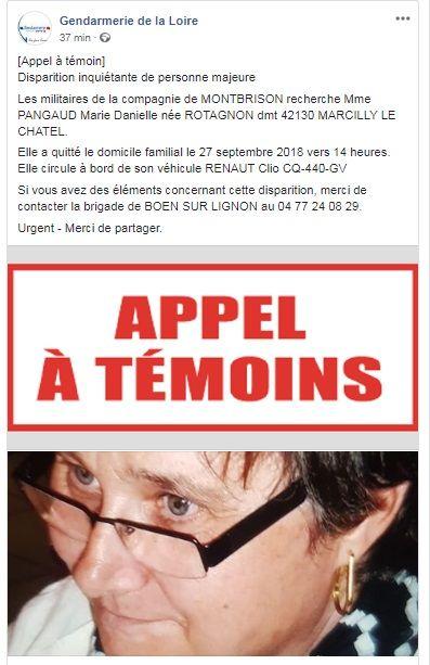 Les gendarmes de Montbrison ont relayé l'appel à témoins sur les réseaux sociaux.