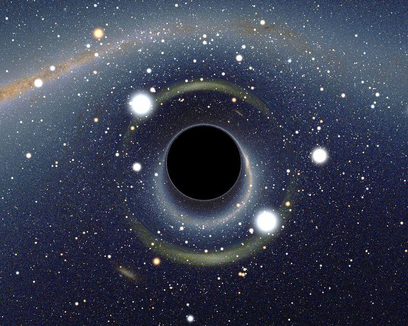 Image simulée d'un trou noir stellaire qu'un observateur situé à une dizaine de kilomètres (9 fois le rayon du trou noir) verrait et dont l'image se dessine en direction du Grand Nuage de Magellan.
