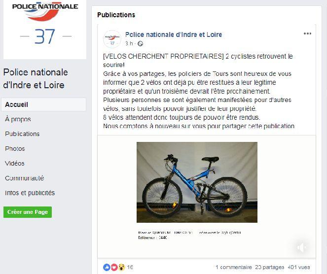 Capture d'écran du compte facebook de la police nationale d'Indre-et-Loire