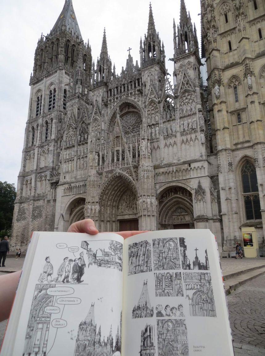 La BD d'Emmanuel Lemaire fait une halte à la cathédrale de Rouen (Facebook de l'auteur)