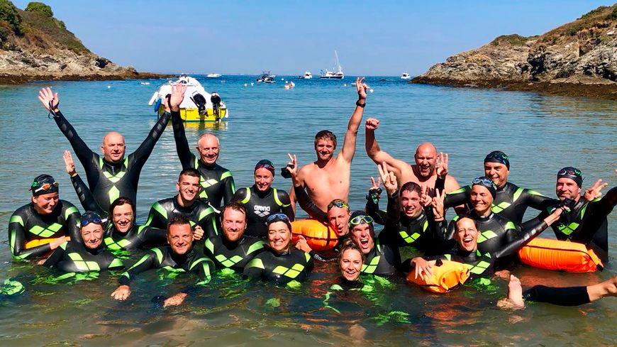 L'arrivée des Nageurs à Fort Fouquet à Belle-Île-en-mer après 14 km de nage