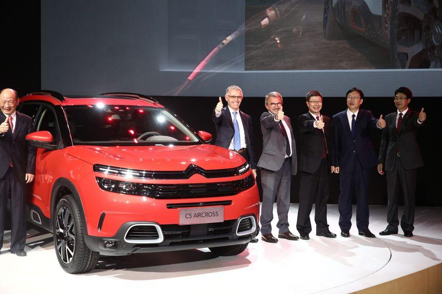 Le SUV C5 Aircross lors de sa présentation à Shanghaï - Maxppp