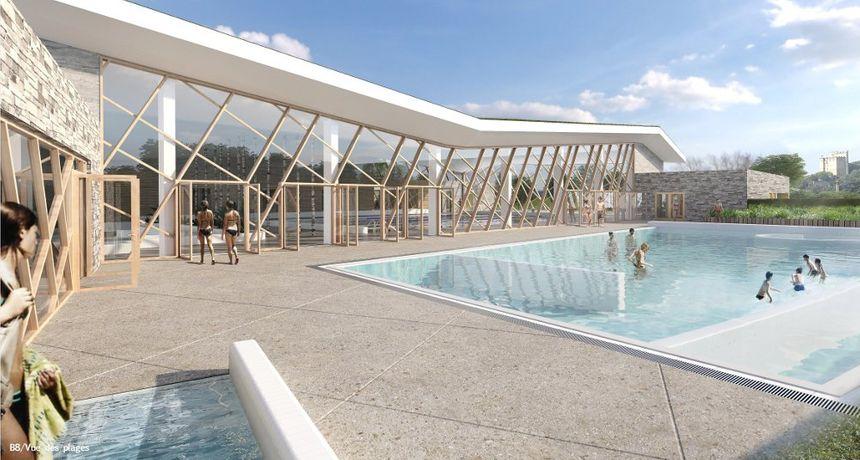 La piscine extérieure de Crest, vue par les architectes.