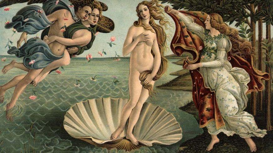 Peinture de Sandro Botticelli, la naissance de Venus, Florence, Italie dans la galerie de Uffizi.