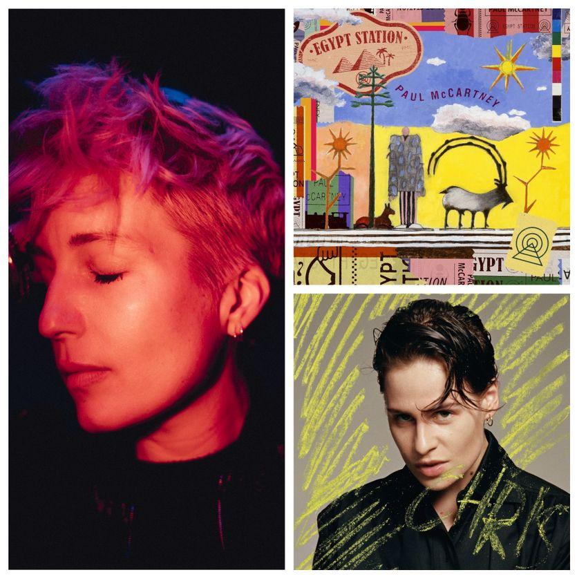 """à gauche : Jeanne Added (© Julien Mignot), à droite : """"Egypt Station"""" de Paul McCartney et """"Chris"""" de Christine and the Queens"""