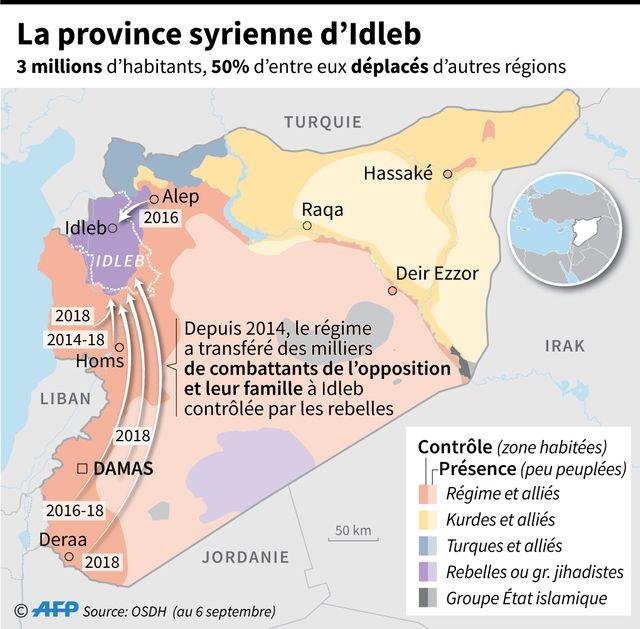 Idlib, en Syrie, et les positions des différentes parties.