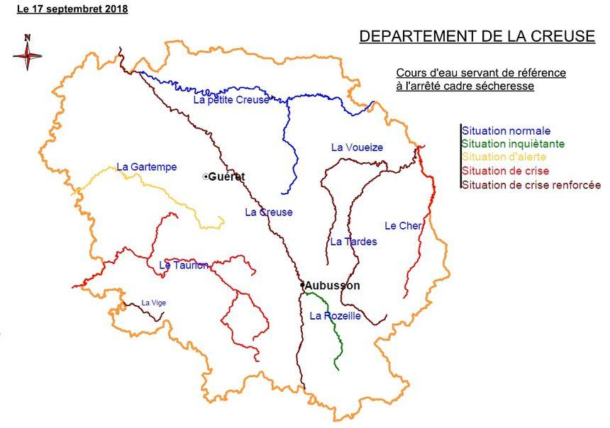 La carte de la sécheresse réalisée par la Direction Départemenale des Territoires de la Creuse.