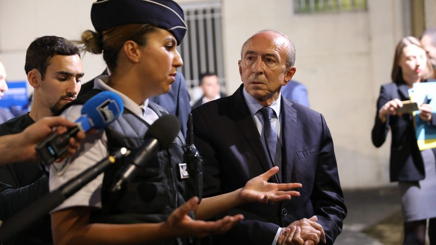 Visite de Gérard Collomb, le ministre de l'Intérieur, à Corbeil-Essonnes, le 17 septembre 2018.