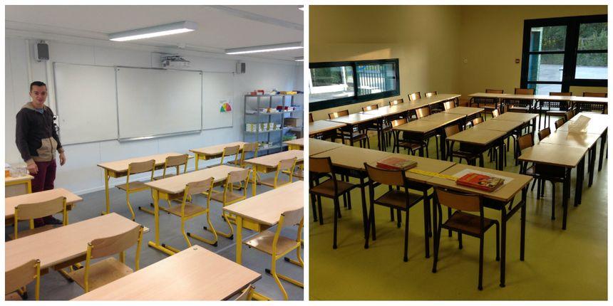 Quelques espaces du centre de loisir sont transformés en salle de classe, d'autres sont installées dans les modulaires (photo de gauche)