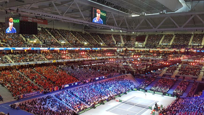 Le stade Pierre Mauroy en configuration tennis lors de la finale France-Belgique, en novembre 2017