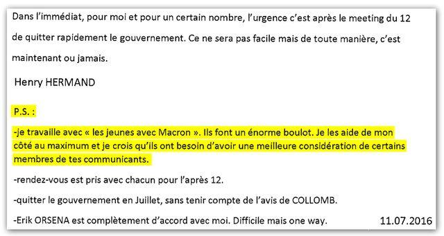 """""""Je travaille avec les Jeunes avec Macron. Ils font un énorme boulot"""" - Note écrite par Henri Hermand pour Emmanuel Macron."""