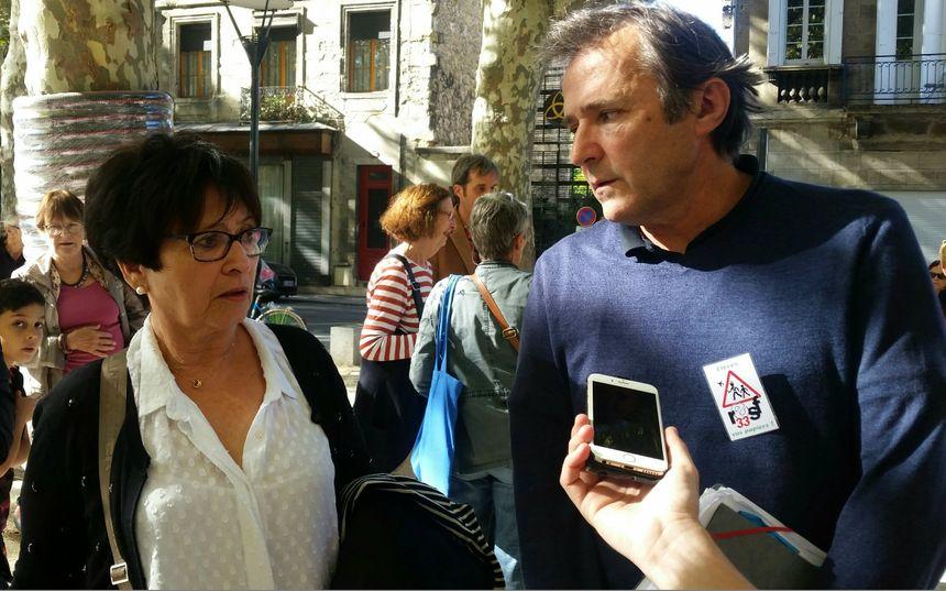 """Danièle Rosin , de la Ligue des Droits de l'Homme, et Gérard Clab"""", de RESF 33"""