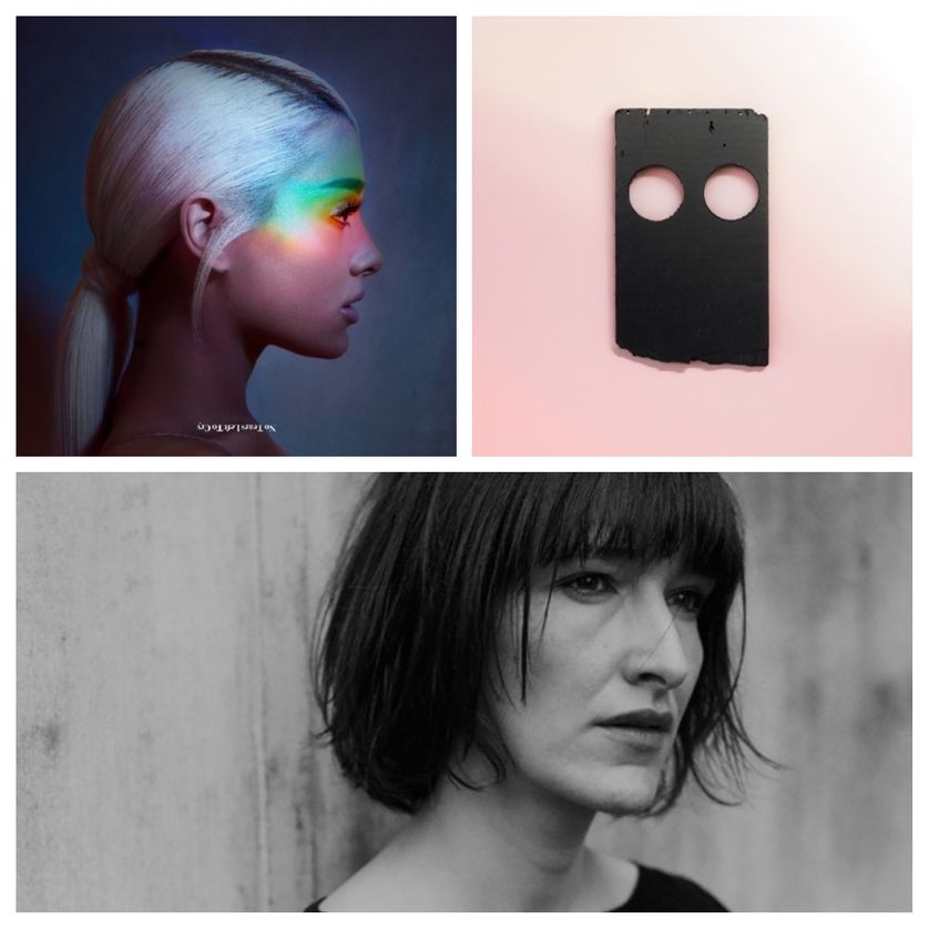 """en haut à gauche : Ariana Grande, à droite : l'album de Low : """"Double Negative"""", en bas : Agnès Gayraud"""
