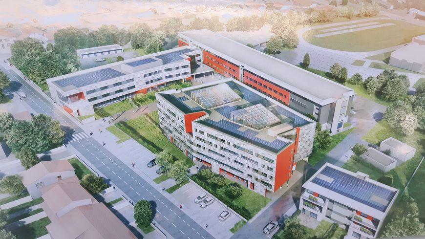 Le futur lycée Ambroise Brugière. Pour le moment, seul le bâtiment le plus long existe. Les autres seront construits à la place de bâtiments démolis