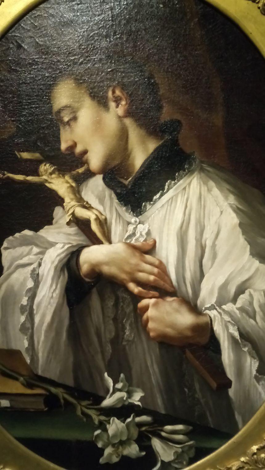 Saint Louis de Gonzague adorant le crucifix - Mazzanti