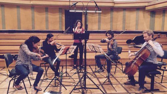 Le Quatuor Alfama et Albane Carrère, © Celine Bodson
