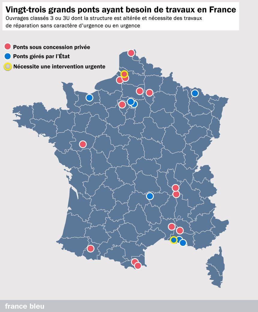 """Vingt-trois ponts français sont classés """"3"""" ou """"3U"""" et nécessitent des travaux sans caractère urgent ou en urgence"""