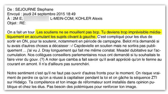 """""""Tu deviens trop imprévisible"""" - Mail de Stéphane Séjourné envoyé à Emmanuel Macron en septembre 2015"""